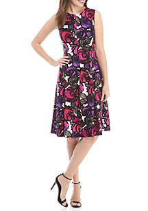 Large Floral Printed Fit-And-Flare Dress