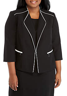 Plus Size Flyaway Jacket with Contrast Piping