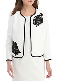 Petite Fly Away Jacket with Floral Appliques
