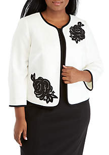 Plus Size Flyaway Jacket with Appliques