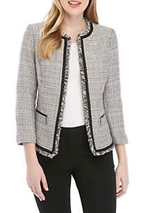 Kasper Fringe Sparkle Tweed Jacket