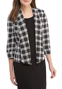Plaid Knit Fly Away Jacket