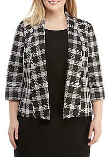 Plus Size Plaid Knit Jacket