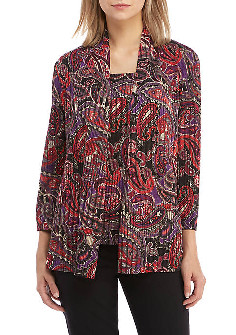Kasper Paisley Print Knit Cardigan