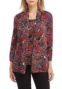 Paisley Print Knit Cardigan