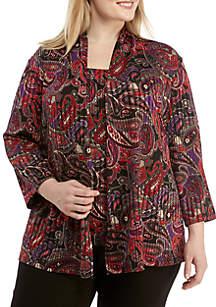 Plus Size Paisley Knit Cardigan