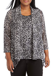 Plus Size High Low Animal Print Knit Cardigan