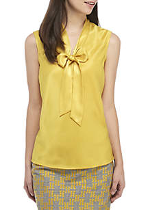 Sleeveless V-Neck Skinny Tie Charmeuse Top