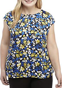 Plus Size Cap Sleeve Floral Print Top