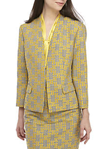 Plaid Jacquard Flyaway Jacket