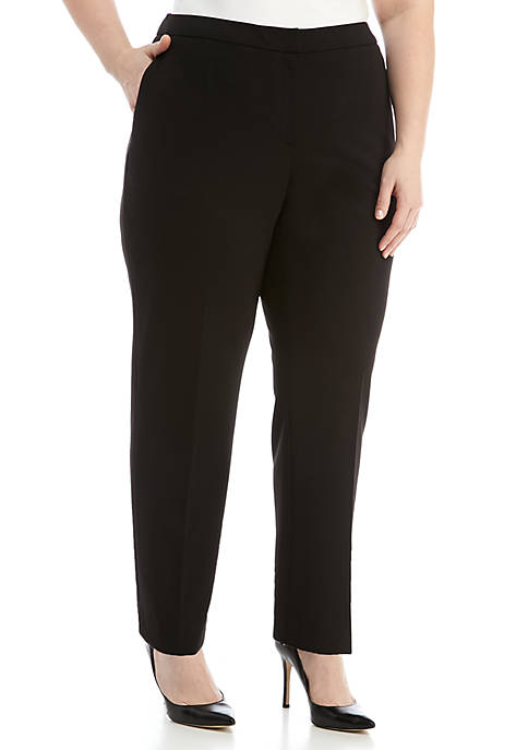 Kasper Plus Size Elastic Waist Crepe Pants Belk