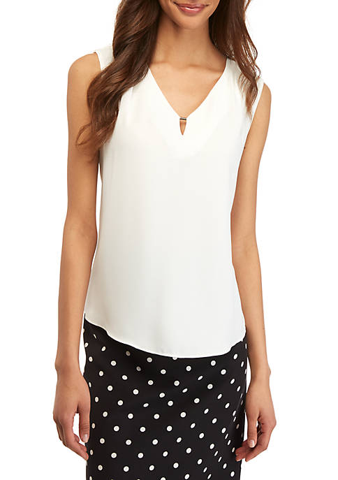Sleeveless Blouse with Keyhole Neck
