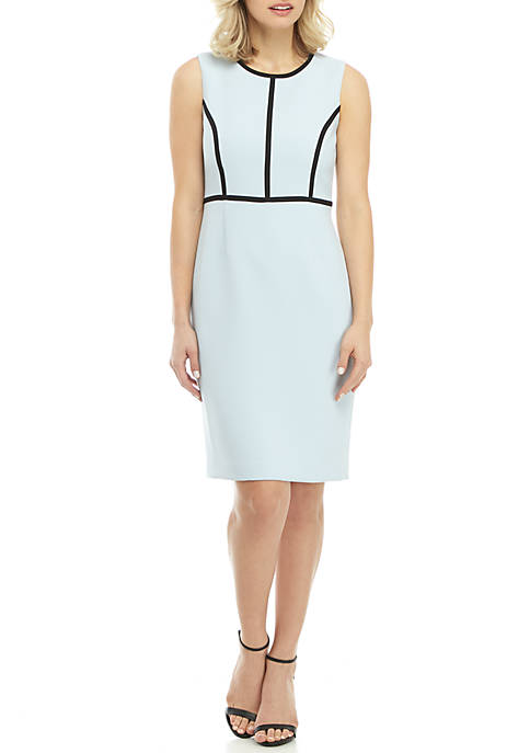 Petite Sleeveless Dress with Piping Trim