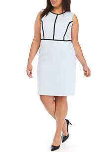 Kasper Plus Size Sleeveless Dress with Piping