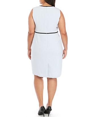 cdb1145821 ... Kasper Plus Size Sleeveless Dress with Piping ...