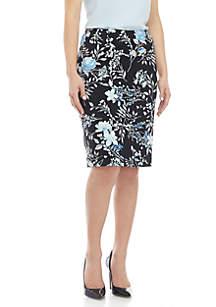 Kasper Floral Print Slim Skirt