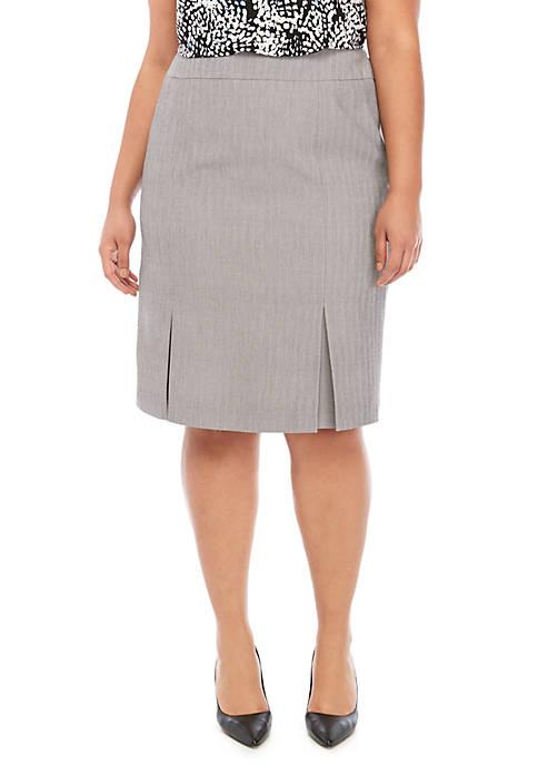 Plus Size Herringbone Pleat Skirt