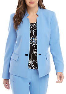 Petite Hardware Closure Crepe Jacket