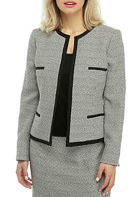 a3ef062c9c5 Kasper Checkered Tweed Open Front Jacket ...