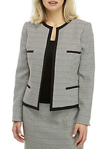 Kasper Petite Checkered Tweed Open Front Jacket