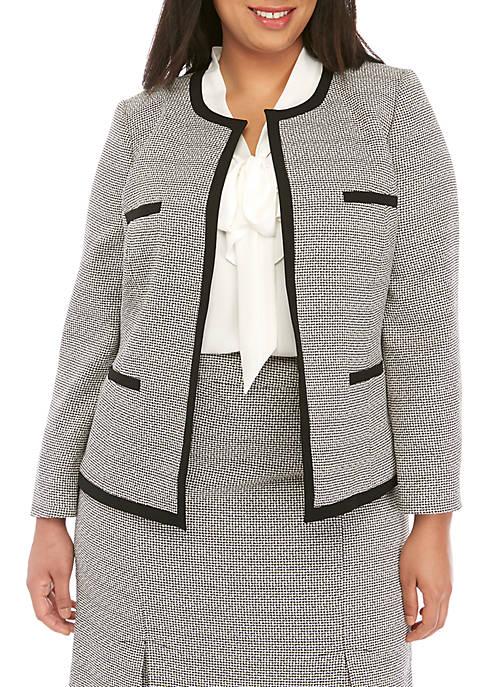 Plus Size Tweed Open Jacket