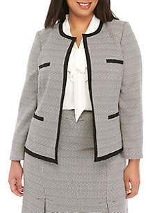 Kasper Plus Size Tweed Open Jacket