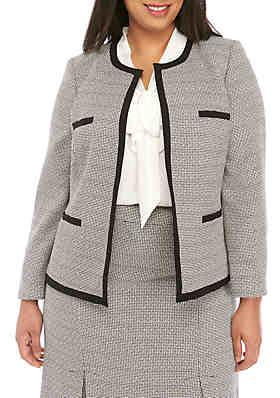 ee7bf0cac2 Kasper Plus Size Tweed Open Jacket ...