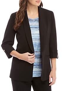 3/4 Roll-Tab Sleeve Shawl Collar Jacket