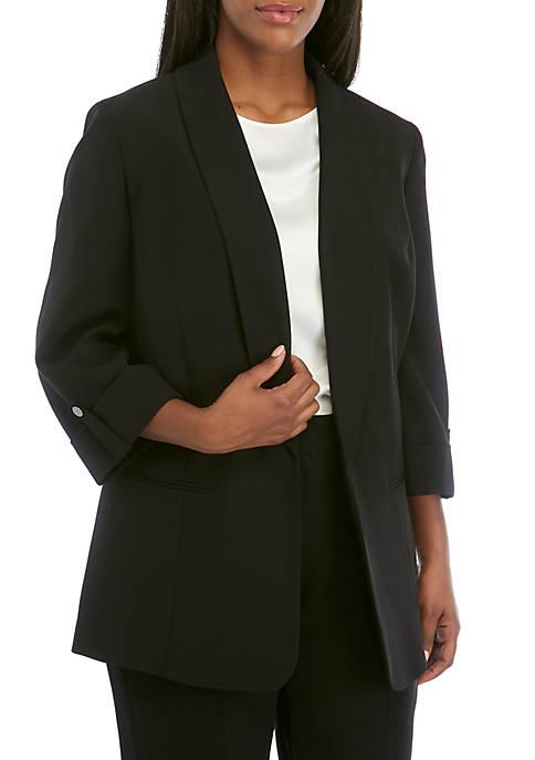Kasper Plus Size Shawl Collar Roll Sleeve Jacket