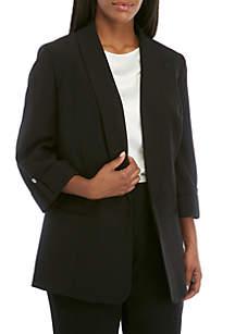 73616eeaa69 ... Kasper Plus Size Shawl Collar Roll Sleeve Jacket