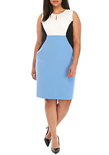 Kasper Plus Size Colorblock Sheath Dress