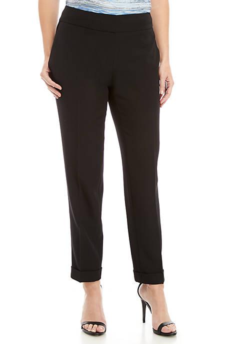 Cuffed Crepe Slim Pants