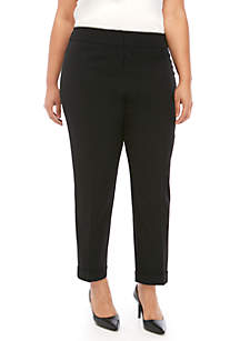 Kasper Plus Size Cuffed Crepe Slim Pants
