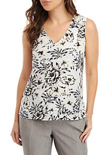 Kasper Sleeveless V-Neck Floral Crepe Top