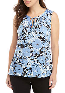 Kasper Sleeveless Keyhole Floral Satin Top