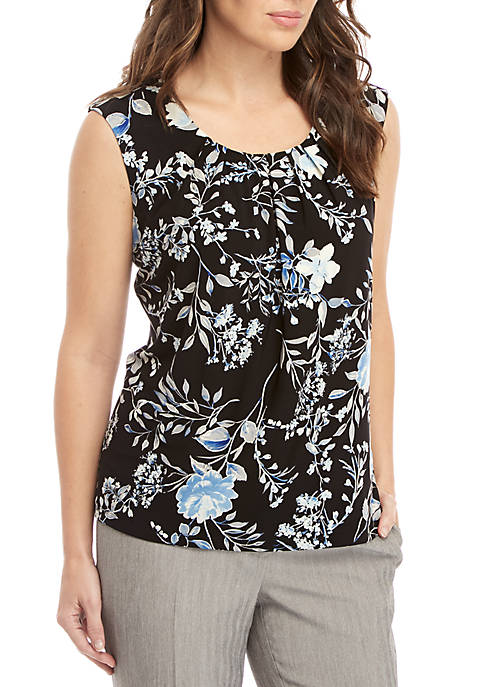 Sleeveless Pleated Neck Floral Top