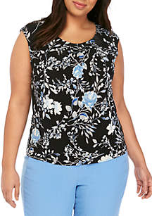 Kasper Plus Size Cap Sleeve Pleat Neck Floral Top