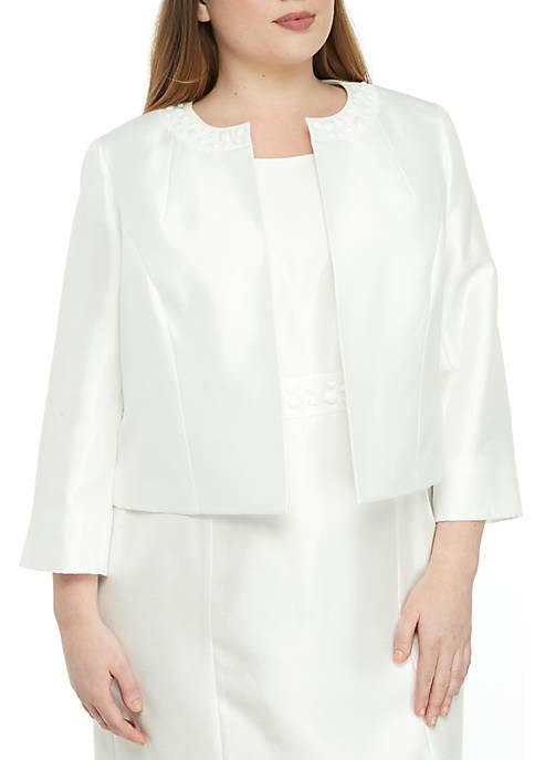 Plus Size Embellished Shantung Jacket