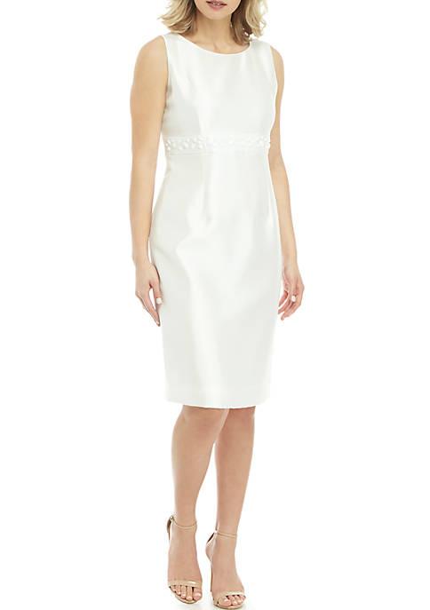 Kasper Sleeveless Embellished Shantung Dress