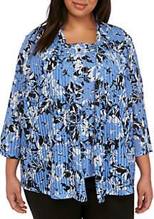Kasper Plus Size Floral Knit Cardigan