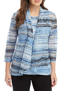 Kasper Ocean Waves Knit Cardigan