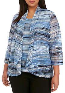 Kasper Plus Size Ocean Waves Knit Cardigan