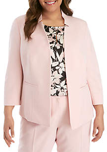 Kasper Plus Size Stand Collar Fly Away Jacket