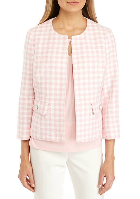 Petite Gingham Tweed Jacket