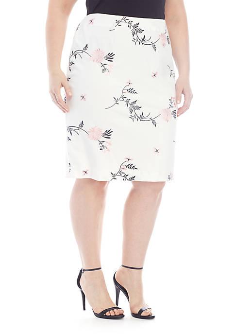 Kasper Plus Size Embellished Pencil Skirt