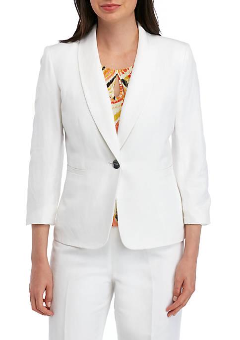 Kasper Petite 1 Button Shawl Collar Linen Jacket