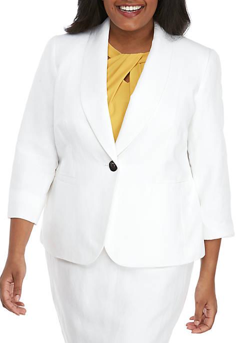 Plus Size One Button Shawl Collar Jacket