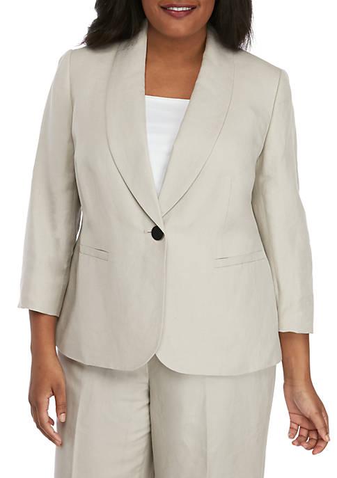 Kasper Plus Size One Button Shawl Collar Jacket
