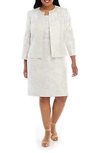 Kasper Plus Size Embellished Jewel Jacquard Dress and Flyaway Jacket