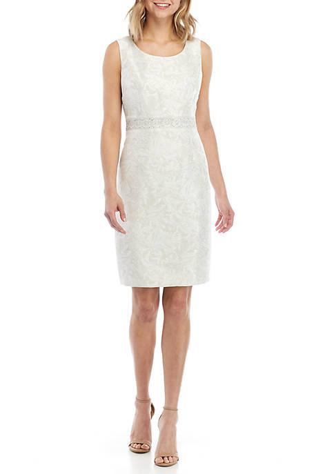 Kasper Sleeveless Dress with Embellished Waist